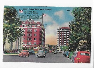 Vintage Linen Postcard of The Riverside Hotel and Hotel Mapes in Reno, Nevada