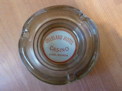 "Overland Hotel & Casino, Reno Nv, Vintage Ashtray, 4.25"" Smoked"