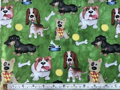 Cute Dog Puppy Green Cotton Fabric Material Craft Quilt FQ Metre