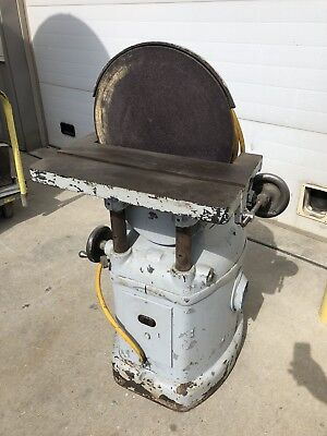 """Yates American 16"""" Disc Sander Cast Iron Tilting Slotted Table 240v 3ph"""