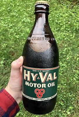 RARE Original Antique 1940s Motor Oil Bottle Antique HYVAL Baltimore Bottle VTG