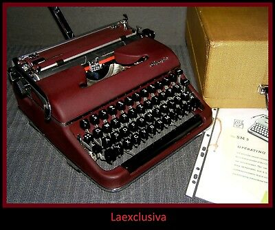 ICONIC Olympia SM3 Typewriter 50s - RED BURGUNDY LACQUER - WORKING (video inside