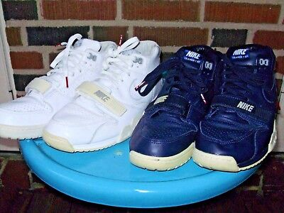 lot of 2 NIKE AIR TRAINER 1 x FRAGMENT TENNIS SHOES WHITE & NAVY size 11