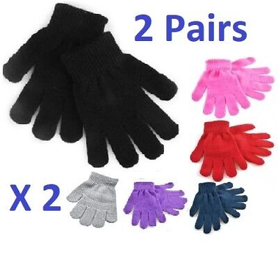 2 Pairs Black+Colours Magic Gloves Kids Boys Girls Children Winter Warm Stretch