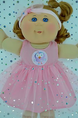 """Play n Wear Doll Clothes For 14"""" Cabbage Patch  PINK SEQUIN DRESS~HEADBAND"""