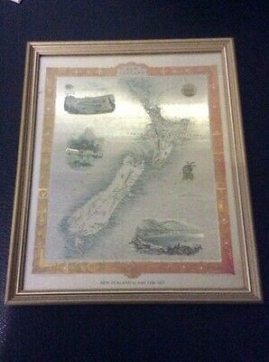 Gold Foil New Zealand Map By John Tallis 1851 Framed Unique Rare Cheap Aus