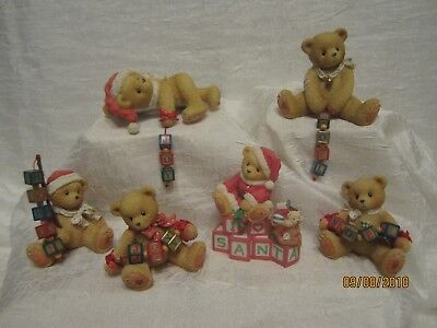 Cherished teddies Christmas  holiday dangling blocks with boxes and paperwork