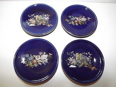 "Vintage Set of 4 Kutani Japan Tea Cup Saucers Blue & Gold Gilt Plates 3¼"" Wide"