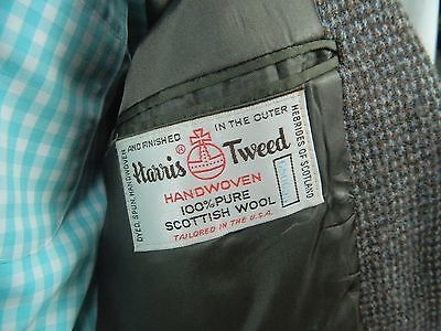 Mens Harris Tweed Handwoven Scottish Wool Grey 2 Button Blazer Sportscoat 42
