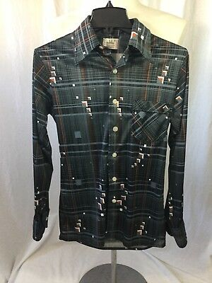 Mens Vintage 1970's ELITE Geometric Poly Disco Hipster Shirt S Small