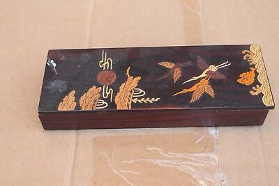 Antique Japanese wood carving lacquer box