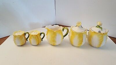 Vintage Lefton Yellow Cabbage Rose Salt Pepper Cream Sugar Jam Condiment Jar