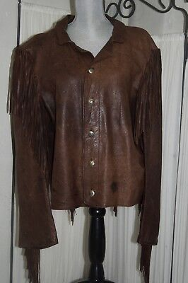 Custom raw Goat Leather Fringe Native American Western Cowboy Jacket women's XL