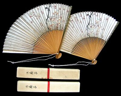 Pair JAPANESE Taisho Paper Bamboo CHERRY BLOSSOM BIRD Fans Boxes ITO-YA GINZA