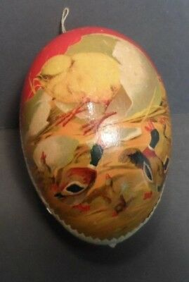 Easter Paper Mache Egg Candy Container Chick Coming out of Egg