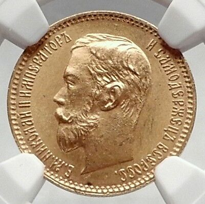1901 NICHOLAS II RUSSIAN Czar 5 Roubles Gold Coin of Russia NGC MS 66 i72864