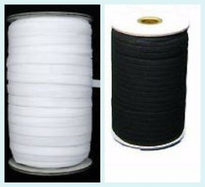 12mm White & Black Flat Woven Elastic Band for Sewing, Knitting & Waistbands