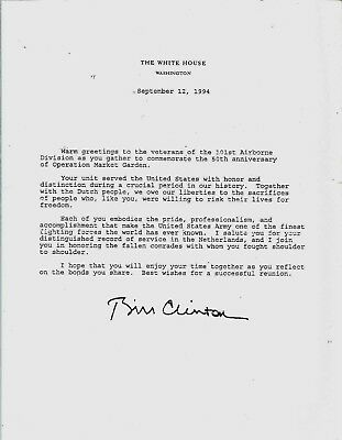 Bill Clinton Signed Letter On White House Stationery to 101St Airborne Division