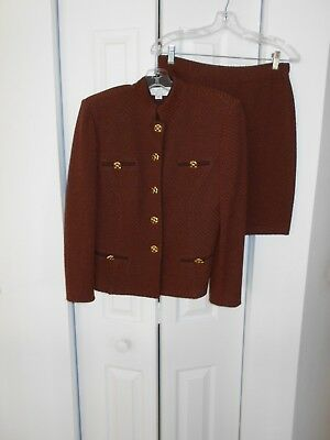 ST JOHN COLLECTION by MARIE GRAY brown knit skirt suit size 6