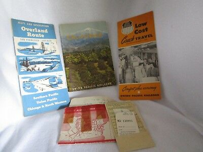 Vintage 1950's Overland Route Union Pacific Railroad Brochures Coach Reservation
