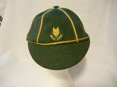 VINTAGE WOLF CUBS 1950's CAP HAT GREEN WOOL YELLOW CORDS UK / CANADA