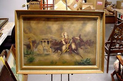 Amazing Antique Western Scene Oil on Tin Beautifully Framed Nice Piece
