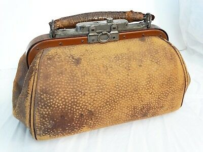 Antique Leather Doctor Midwife Housecall Bag Travel Medical Satchel