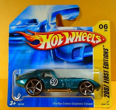 Hot Wheels 2007 Shelby Cobra Daytona Coupe First Editions Short Card