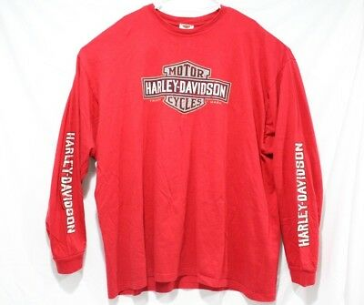 Harley-Davidson Long Sleeve Graphic T Shirt Mississippi Coast Red Mens 3XL