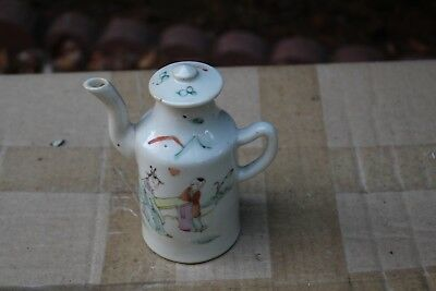 Antique Chinese Qing dynasty hand painted porcelain wine pot
