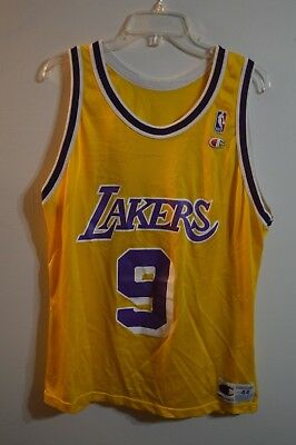 11f0ff61c36 Rare Vintage NBA Los Angeles Lakers Nick Van Exel 9 Champion Jersey sz 44 L  Kobe