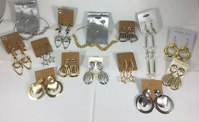 Jewelry Lot NEW EARRINGS Gold Silver Statement Dangle Bold Star 14 pair #B69