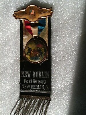 New Berlin Ohio Gar Civil War Veteran Post 249 Memoriam Ribbon W/ Celluloid