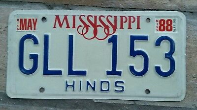 1988 MISSISSIPPI ~ Hinds County ~ License Plate TAG # GLL 153