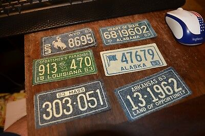 1963 General Mills Cereal Premium License Plates Rare Sticker Bicycle Plates (6)