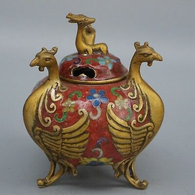 Chinese Exquisite Handmade Phoenix deer copper Cloisonne incense burner