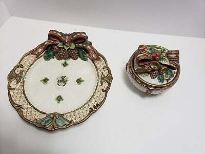 Fitz And Floyd Florentine Collection. Canope Plate And Round Box With Lid....
