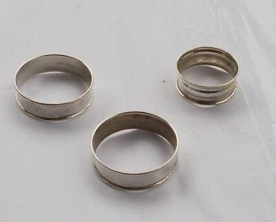 "LOT 3 Vintage Solid Sterling Silver Napkin Rings 1.75"" & 1.5"" Collection LOOK NR"