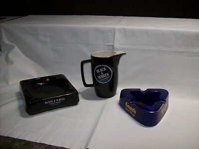 Black & White Scotch Whisky Ash Tray & Water Jug With Bonus Grants Ash Tray