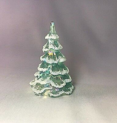 "Fenton 3"" T Glass Christmas Tree AMERICAN GREEN PINE IREDESCENT SNOW COVERED"