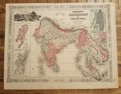 Antique Colored MAP OF HINDOSTAN OR BRITISH INDIA - Johnson's Family Atlas 1863