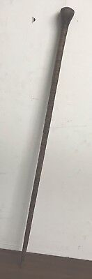Vintage Antique Fighting Walking Stick Cane Metal Leather Wrapped Shaft Old