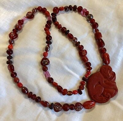 Vintage Chinese Cinnabar Style Monkey Bead Necklace Red Glass Beaded