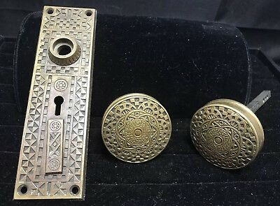 Beautiful Detailed Vintage brass door knobs with backplate