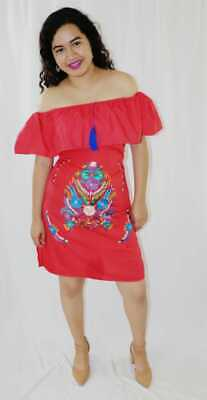 Womens Handmade Embroidered Mexican Dress Red Medium X-Large Off the Shoulder