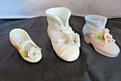 Lot Of 3 Vintage Miniature Porcelain Baby Boot, German Slip On And Blue Boot