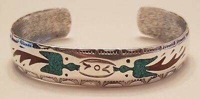 Vintage Native American Sterling Silver Cuff Bracelet W Turquoise - Solid .925