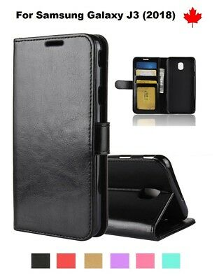 For Samsung Galaxy J3 (2018) - Wallet stand Leather Credit Card Slots Case Cover