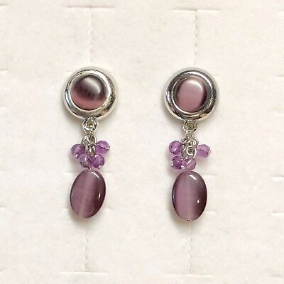 Vntg Moonglow Earrings Clip On Costume Retro Purple Cabochon Dangle Beads Silver
