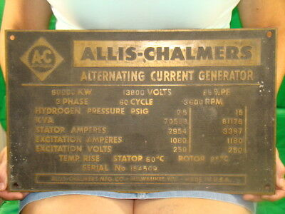 Vintage Antique Cast brass Power Generator Sign Tag Steam Engine water turbine